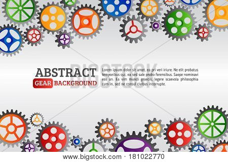 Abstract colorful gears background. Mechanism with integrated gears for business presentations or information banner. Modern design of background esp 10