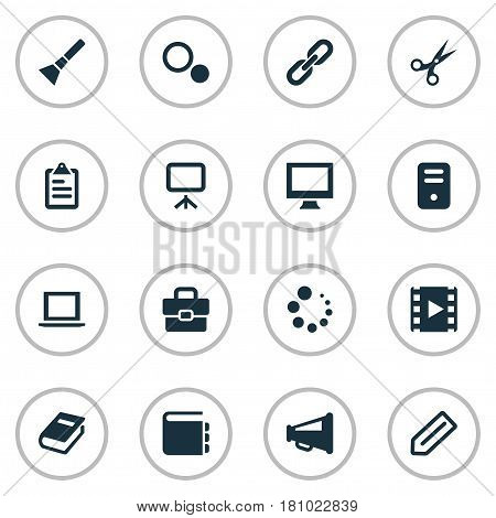 Vector Illustration Set Of Simple UI Icons. Elements List, Book Print, Settings And Other Synonyms Tag, Work And Laptop.