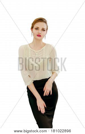 Beautiful Young Girl In A White Blouse And Black Skir