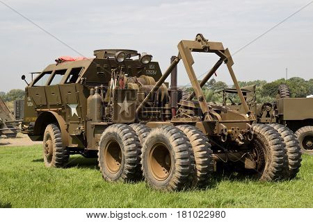 WESTERNHANGER, UK - JULY 20: A WW2 US army recovery truck stands on public display in one of the outer fields at the War & Peace Revival show on July 20, 2016 in Westernhanger