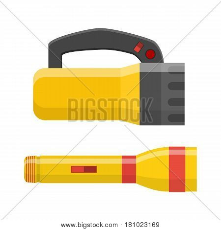 Tourist flashlight Handle icon. Different flashlight isolated on white. Vector illustration in flat style