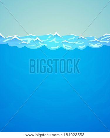 Underwater vector background. Sea or ocean water and waves. Vector illustration.