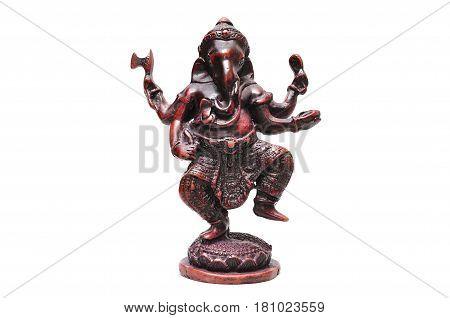 Ganesha Statue of Indian hindu god with elephant head isolated on white background