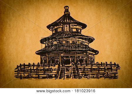 Free Hand Sketch Collection: Chinese Temple Of Heaven, China On Old Paper Texture