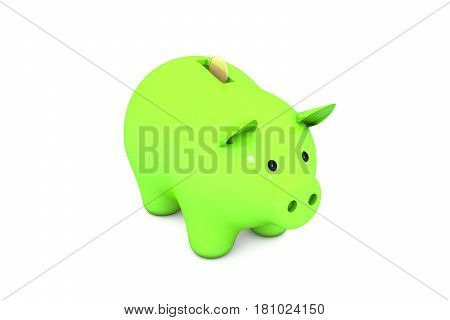 3d illustration: Acid green piggy Bank with Golden (copper) coin on a white isolated background