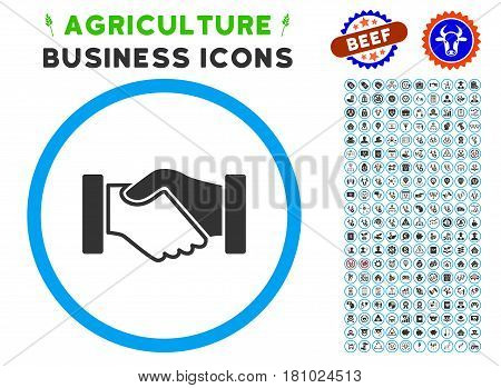 Acquisition Handshake rounded icon with agriculture business glyph collection. Vector illustration style is a flat iconic symbol inside a circle, blue and gray colors.