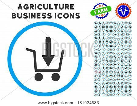 Add To Basket rounded icon with agriculture commercial glyph package. Vector illustration style is a flat iconic symbol inside a circle, blue and gray colors. Designed for web and software interfaces.