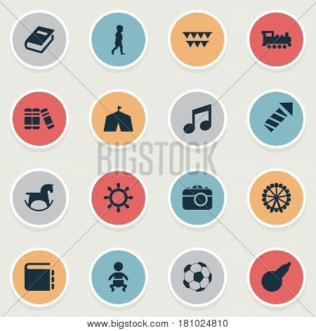 Vector Illustration Set Of Simple Kid Icons. Elements Bookshop, Dictionary, Kid And Other Synonyms Step, Textbook And Child.