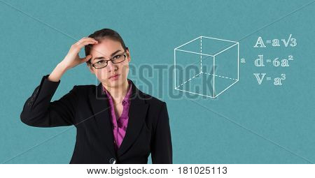 Digital composite of Businesswoman suffering from headache by equations on blue background