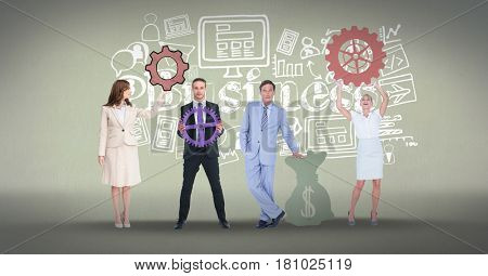 Digital composite of Full length of business people with gears