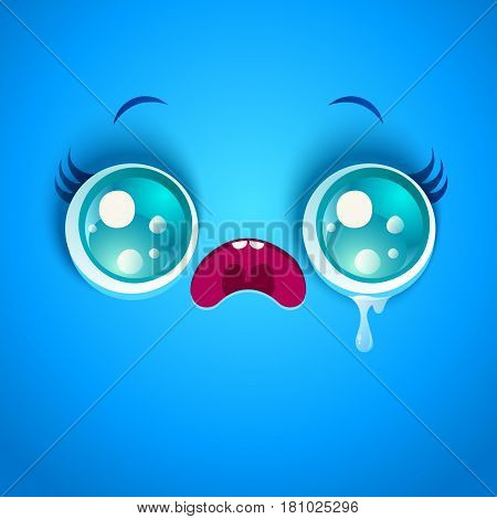 Vector illustration of sad blue face. Kawaii face in stress with eyes and tear.