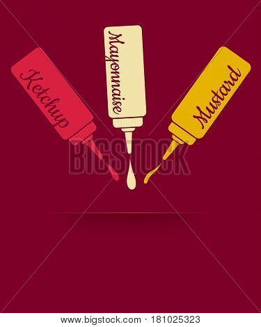Vintage vector illustration of three sauces. Ketchup mayonnaise and mustard