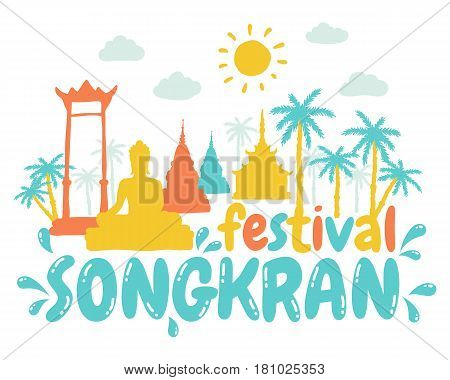 Vector illustration for Songkran festival in Thailand. Songkran water festival in Thailand.