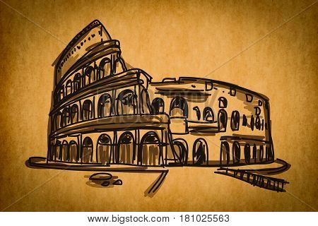 Free Hand Sketch Collection: Colosseum In Rome, Italy On Old Paper Texture