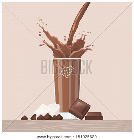 Tasty chocolate pouring into a glass with chocolate squares and marshmallows delicious treat