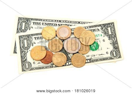 euro coin and dollar bank on white background. Photo for financial concept
