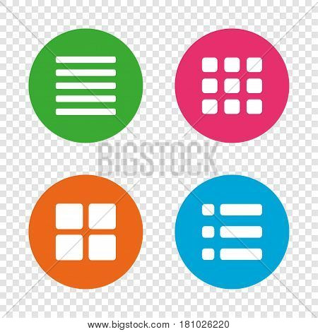 List menu icons. Content view options symbols. Thumbnails grid or Gallery view. Round buttons on transparent background. Vector