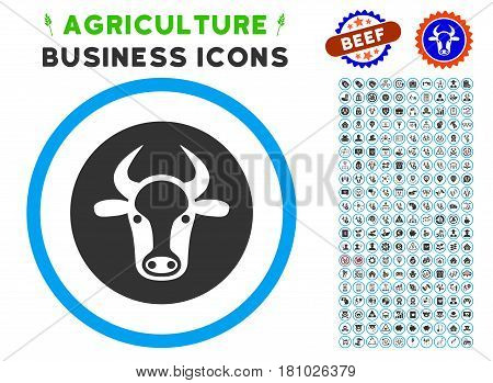 Bull Head rounded icon with agriculture commercial icon clip art. Vector illustration style is a flat iconic symbol inside a circle, blue and gray colors. Designed for web and software interfaces.