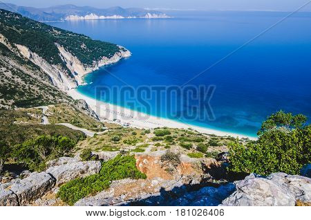 Aerial View of beautiful Myrtos Bay and Beach on Kefalonia Island, Summer Day, Greece