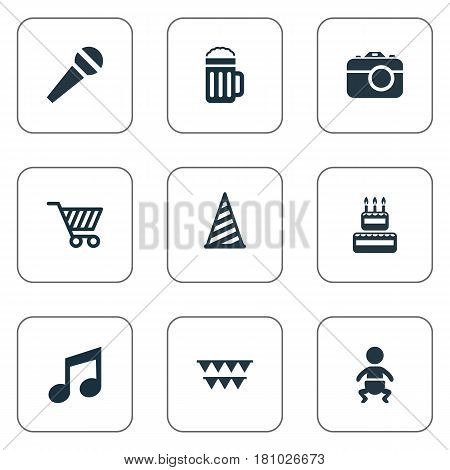 Vector Illustration Set Of Simple Birthday Icons. Elements Confectionery, Infant, Cap And Other Synonyms Confectionery, Speech And Photo.