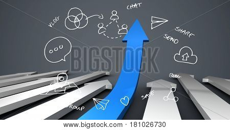 Digital composite of Various icons and arrow sign symbolizing growth