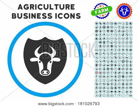 Bull Shield rounded icon with agriculture commercial glyph collection. Vector illustration style is a flat iconic symbol inside a circle, blue and gray colors.