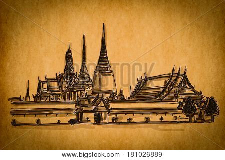 Free Hand Sketch Collection: Grand Palace - Wat Phra Kaew, Bangkok Thailand On Old Paper Texture