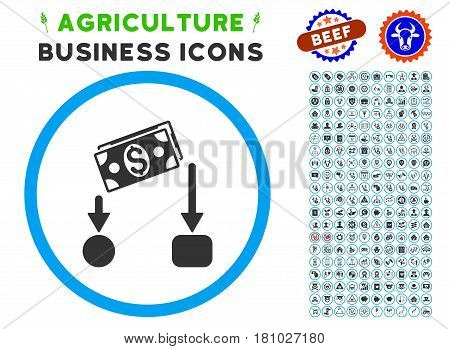 Cash Flow rounded icon with agriculture commercial pictogram collection. Vector illustration style is a flat iconic symbol inside a circle, blue and gray colors.