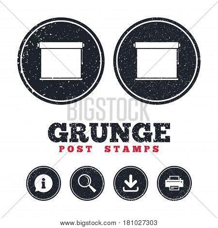 Grunge post stamps. Louvers rolls sign icon. Window blinds or jalousie symbol. Information, download and printer signs. Aged texture web buttons. Vector