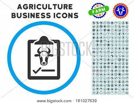 Cattle Contract rounded icon with agriculture business glyph package. Vector illustration style is a flat iconic symbol inside a circle, blue and gray colors. Designed for web and software interfaces.