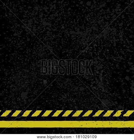 Black grunge asphalt background with yellow lines