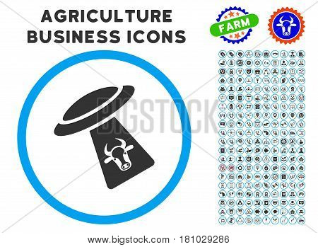 Cattle UFO Abduction rounded icon with agriculture commercial glyph collection. Vector illustration style is a flat iconic symbol inside a circle, blue and gray colors.