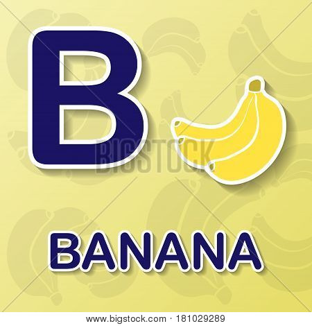 Banana symbol with letter B and word