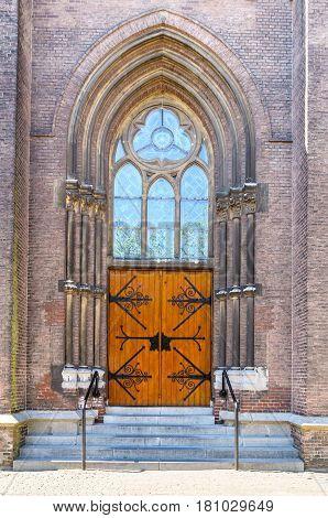 Vintage wooden Church Door in Delft Netherlands