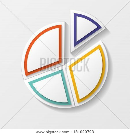 Circle graph chart with four pieces different colors