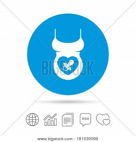 Pregnant woman shirt sign icon. Baby on board with dummy. Maternity symbol Copy files, chat speech bubble and chart web icons. Vector