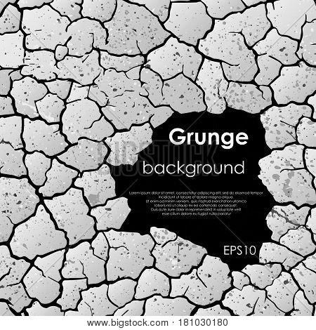 Abstract gray cracked background with sample text