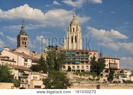 Segovia (Castilla y Leon Spain): cityscape with towers of historic churches