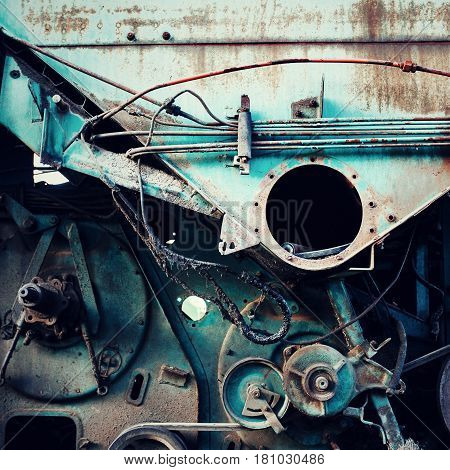 Background With Old Rusty Machinery Details