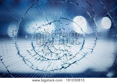 A broken window glass background accident concept