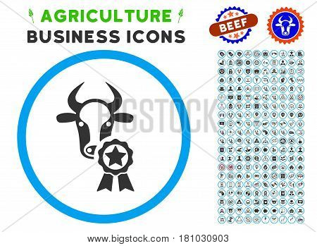 Cow Award rounded icon with agriculture business icon pack. Vector illustration style is a flat iconic symbol inside a circle, blue and gray colors. Designed for web and software interfaces.