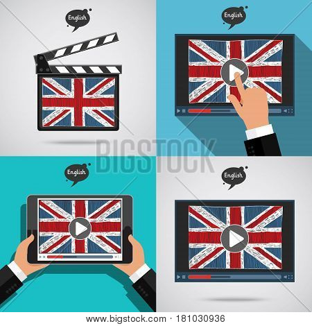 Set of Concept of learning languages. Study English of Britain. Movie production clapper board and screen with hand drawn english flag. Film in English.