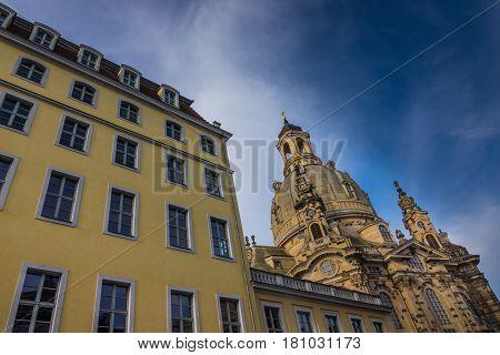Dresden Frauenkirche In City Dresden Against Sky