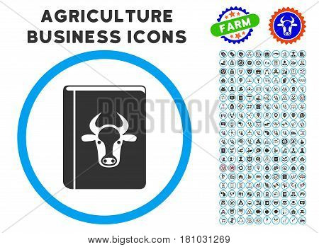 Cow Book rounded icon with agriculture commercial glyph package. Vector illustration style is a flat iconic symbol inside a circle, blue and gray colors. Designed for web and software interfaces.