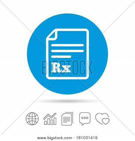 Medical prescription Rx sign icon. Pharmacy or medicine symbol. Copy files, chat speech bubble and chart web icons. Vector