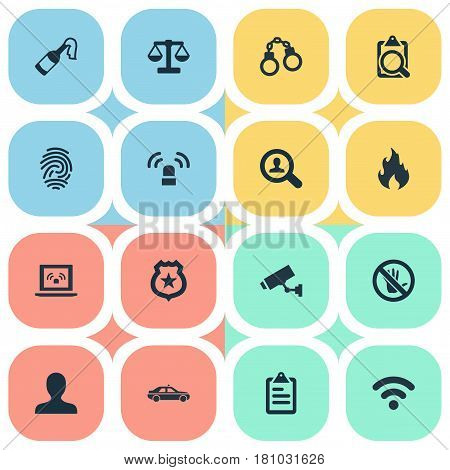 Vector Illustration Set Of Simple Fault Icons. Elements Grid, Lock, Justice And Other Synonyms Biometric, Molotov And Car.