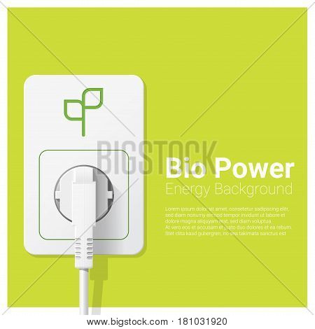 Green energy concept background with bio power and electric plug , vector , illustration