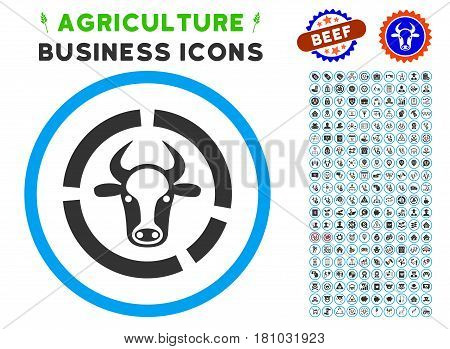 Cow Diagram rounded icon with agriculture commercial glyph kit. Vector illustration style is a flat iconic symbol inside a circle, blue and gray colors. Designed for web and software interfaces.