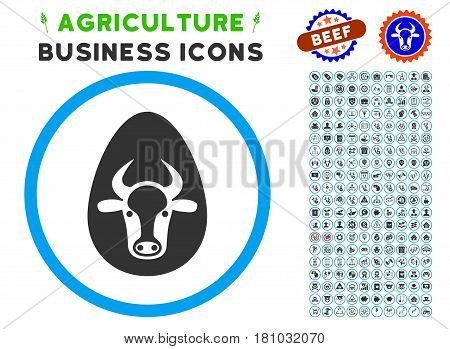 Cow Egg rounded icon with agriculture commercial glyph pack. Vector illustration style is a flat iconic symbol inside a circle, blue and gray colors. Designed for web and software interfaces.