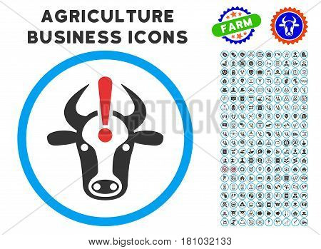 Cow Error rounded icon with agriculture commercial icon pack. Vector illustration style is a flat iconic symbol inside a circle, blue and gray colors. Designed for web and software interfaces.